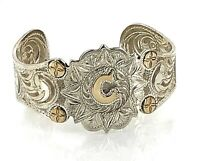 """Estate .925 Sterling Silver & 10k Yellow Gold Embossed Initial """"C"""" Cuff Bracelet"""
