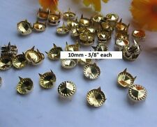 "Pkg of 20 Golden ROUND CONE DESIGN 4-spike 3/8"" (10mm) Studs Leather Crafts #016"