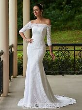 New Mermaid Bridal Gown Off The Shoulder Lace Half Sleeve Wedding Dresses Custom