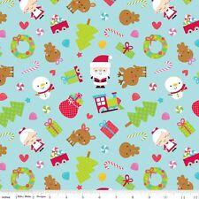 FLANNEL by 1/2 Yard - Riley Blake Santa Express in Blue Christmas Fabric