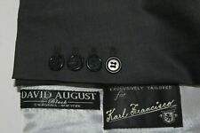 Custom Tailored DAVID AUGUST 44L Gray Surgeon Cuffs Wool Blazer Jacket