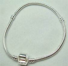 1pcs Snake Chain 19cm P Silver Plated Charm Bracelets Fit European Beads 2nu