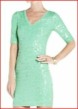 BCBG MAXAZRIA LIGHT AQUA SEQUIN V NECK DRESS Size M NWT $338-RackA/41