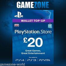 PlayStation Network £20 GBP - 20 Pounds PSN Store Card Key - PS4 PS3 PSP – UK