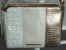 Brahmin CARRIE BONITA TRI-COLOR ROSE GOLD WHITE SHOULDER CROSSBODY BAG NWT $235