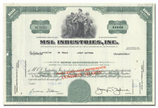 MSL Industries, Inc. Stock Certificate (Steel)