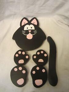 Halloween Fall Create a Pumpkin Personality Decorating Kit Wood Black Cat