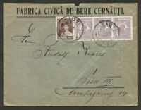 ROMANIA TO AUSTRIA CERNAUTI Cancel on Cover w/Advertising VF