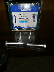 A)BOX 200 M6 X40 HIGH TENSILE HEX SET SCREW BOLT FROM CLEARANCE CHEAPEST ON EBAY