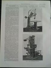 Woodworking Machinery Plain Band Saw Mortising Thos Robinson & Son Rochdale 1900