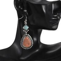 Newly Vintage Tibetan 925 Silver Turquoise Dangle Hook Earrings Women Jewelry