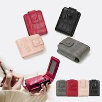 Portable Women's Mini Storage Bag Cosmetic Pouch Lipstick Case with Mirror Bag