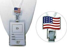 "USA AMERICAN FLAG ID LANYARD-Silvertone-RN Nurses LVN Mothers-Teachers 28"""