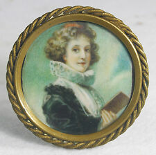 Antique Hand Painted Portrait  of Lady  with Book