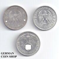 Set 3 x 5 Reichsmark Silver 1934 - 1939 - Third Reich German Reich