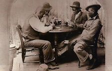 """ Cheating at Cards "" c 1890, Friendly Game of Poker, African Americans Postcard"