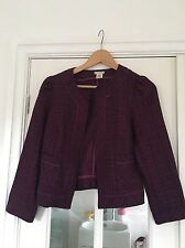 UO Lux Vintage Style Short Piped Detail Tweed Jacket Purple/Black Size S