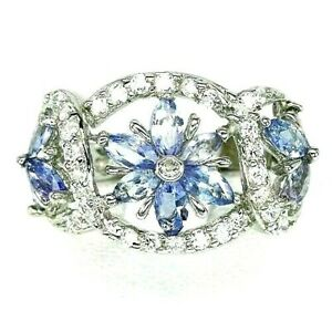 Ring Blue Tanzanite Genuine Natural Gems Solid Sterling Silver Size L 1/2  US 6