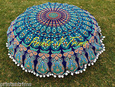 Round  Indian Mandala Floor Cushion Cover Boho Decorative Picnic Throw Towel