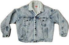 Levis Denim Trucker Jacket Vintage 80s Acid Washed Sherpa Shearling USA XLarge