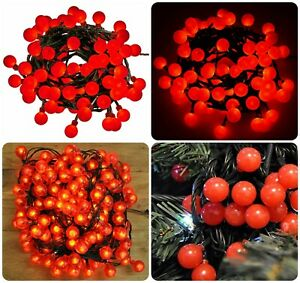 200 LED Christmas Fairy String Lights Battery Operated Red Berry Ball Xmas Party