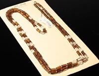 "23/"" Vintage Czech Deco necklace gradual opalescent juice yellow glass beads"