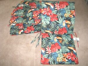 Set of 4 CHAIR CUSHIONS Patio RANI CITRUS Red & Green Pattern NEW!!