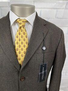 NEW Andrew Fezza Men's 3 Btn Cashmere&Wool Microcheck Sport Coat Blazer Sz 38 R