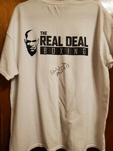 Evander Holyfield Autographed Real Deal boxing shirt signed Heavyweight Champ