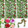 Artificial Rose Flower Decor Garland Ivy Vine Hanging Wedding Home Fake Silk h