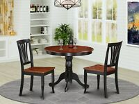 """3pc East West dinette set, 36"""" round pedestal table + 2 chairs in black & cherry"""
