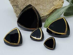 Very Cool Vintage Black Glass Graduated Size Triangle Buttons Collectible German