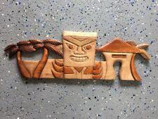 20� Tiki Hut Palm Tree 2 Tone Teak Wood Wall Plaque Patio Home Decor