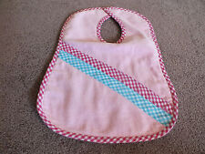 "Collectible Handmade Baby Bib Pinks Cupcakes Velcro Closure 13 x 10"" Adorable"