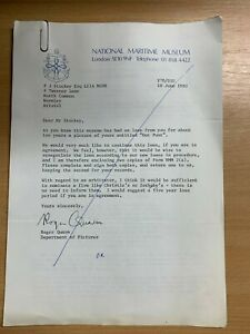 1980 NATIONAL MARITIME MUSEUM LETTER & SIGNED FORMS TO ARTIST PETER J STUCKEY