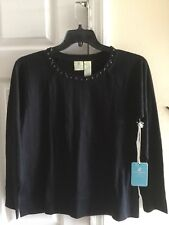 Caribbean Joe's Black Cotton Sweatshirt. Womens Medium. NWT