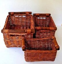 Vintage Rectangle Shape Woven Solid Wood Wicker Baskets W/Cane Handles 3-Piece