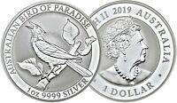Australien 1 Dollar 2019 Manukode Paradiesvogel Birds of Paradise Silbermünze