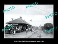 OLD LARGE HISTORIC PHOTO OF XENIA OHIO, THE RAILROAD DEPOT STATION c1910