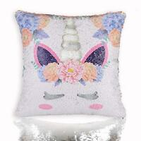 Unicorn Mermaid Scale Sequins Pillow Case Personalized Reversible Throw Silver