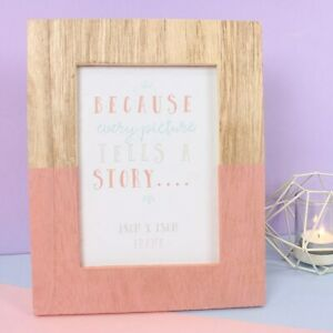 Wooden/Pink Geo Quality Photo Frame, for 18cm x 30cm Picture, New