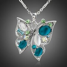 Turquoise Blue Cubic Zirconia Pendant Necklace Crystal Blue Pendant Necklace