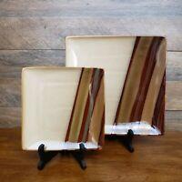 "Set of Sango Avanti Brown 4722 7 3/4"" Square Salad Plate & 11 1/8"" Dinner Plate"