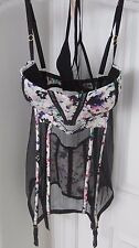 Victoria Secret Bra Mesh Corset Garter Sz 36D thong Panti Set NWTs Rtl for $78