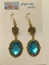 VICTORIAN STYLE - DIAMOND ROSE - MID TURQUOISE GOLD P DROP EARRINGS hook DR