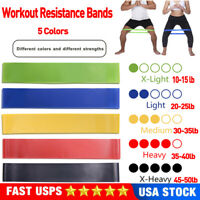 5PCS Resistance Loop Bands Exercise Band For Workout Gym Yoga Fitness Pilates US