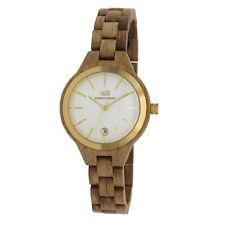 BERGEN-DESIGN Echtholz Damen Armbanduhr Modell HERDLA Eiche naturbraun, Datum