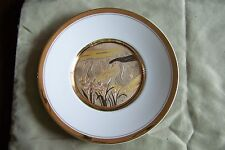 Vintage Chokin Art Plate with Double Swans Made in Japan