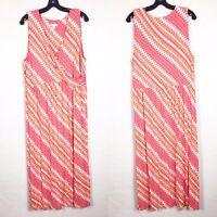 J Jill Size L Large Pink Orange White Tie Dye Jersey Knit Sleeveless Maxi Dress