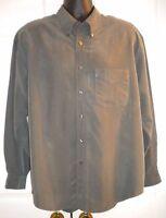 Van Heusen Men's Shirt Dark Green 70% Rayon Long Sleeve (sz L/16 - 16 1/2)